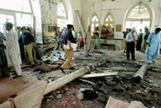 The aftermath of the attack on the Shia mosque  Karachi