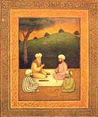 Khusro (right) with Hazrat Nizamuddin Aulia in a 16th century Mughal miniature