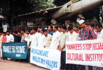 NDF activists protesting against US consulate  officials at Kozhikode