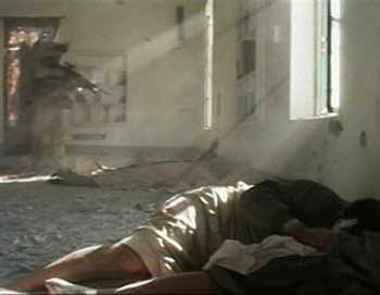 Killing in cold blood: US marine killing a wounded Iraqi man lying on floor of mosque in Falluja on 13 Nov. 04