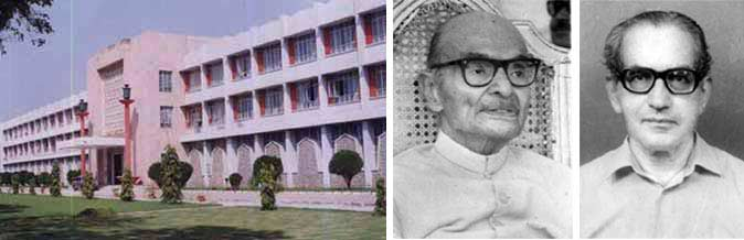 (Left to right) Jamia Hamdard Administrative Block,  Late Hakeem Abdul Hameed, founder