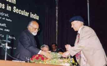 Duty Society Keeper Prof. Siddiqui welcoming IK Gujral