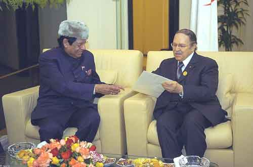 MOS For External Affairs E Ahamed meets the Algerian President Abdelaziz Bouteflika at Algiers on 22 March 05