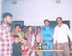 Sewing machine donated by MG to a vocational centre run by Jalang Mahila Samiti in Jalangi (Nadim Ahmad is seen second from left)