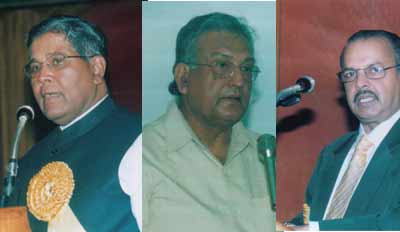 Left to Right: K Rahman, Justice Siddiqui and Dr Majeed