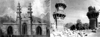 Nature's fury did not differentiate between Hindus and Muslims and their places of worship but Man is adamant to distinguish between victims on the basis of their religion. , Picture: The shaking minarets of Ahmedabad in an 1809 etching and now after the quake.