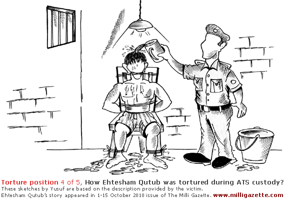 Torture position 4: Victim is tied to a chair so that he is unable to move his head in any direction; water is dropped slowly on his scalp for hours causing very strong pain in neck and head