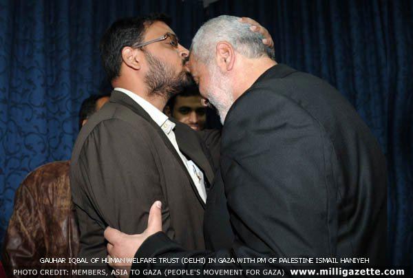Gauhar Iqbal of Human welfare Trust (Delhi) in gaza with PM of Palestine Ismail Haniyeh