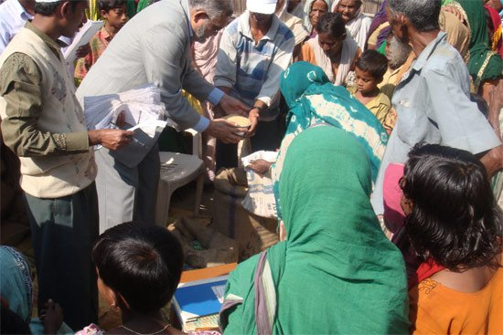 Ration distribution in Murshidabad's Jalangi area