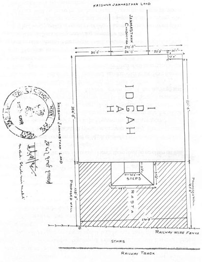 Map of the agreed new boundaries of the Idgah Masjid according to the 1968 settlement