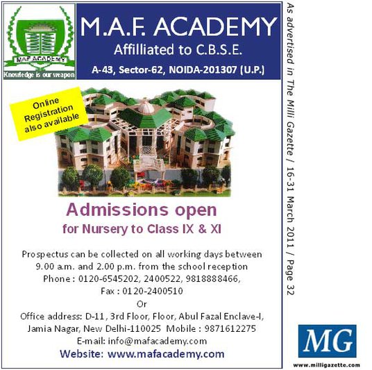 M.A.F. ACADEMY, NOIDA, Admissions open for Nursery to Class IX & XI